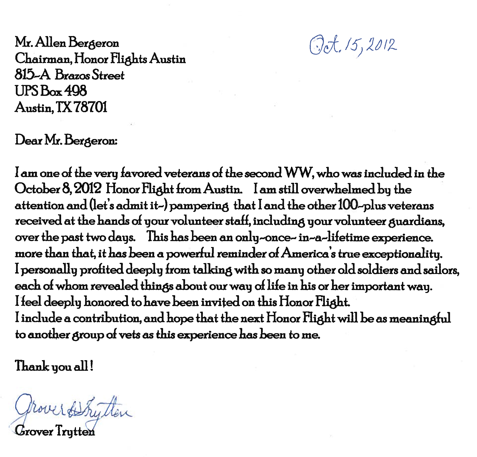Sample Letter To WWII Veteran